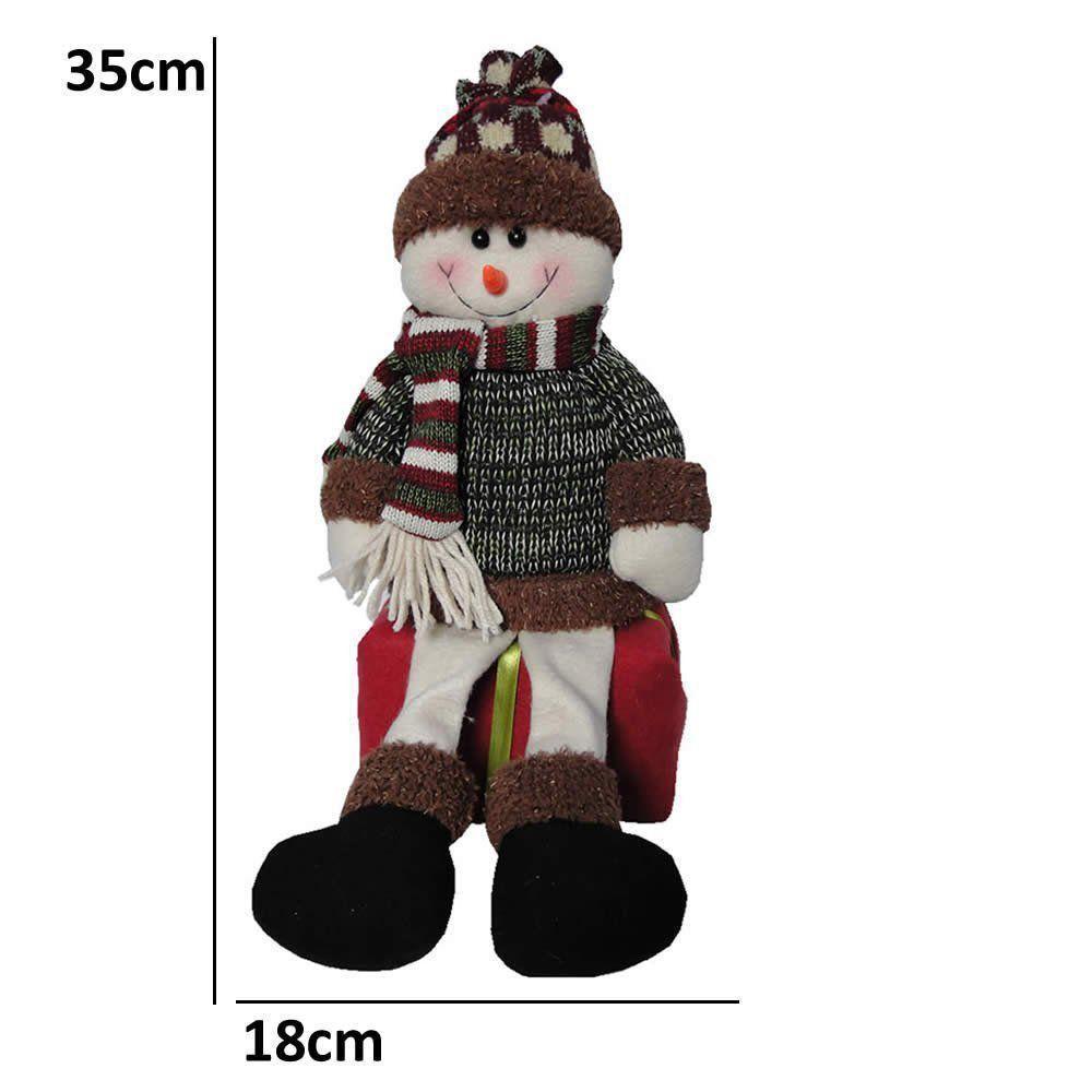 Boneco de Neve de Luxo em Pelúcia sentado no Presente com 35cm de Altura CBRN0418 CD0080