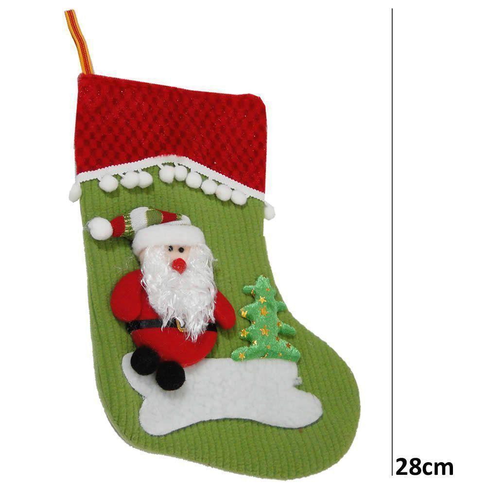 Bota de Natal Verde em Tecido com Papai Noel 1446 28cm de Altura CBRN0180