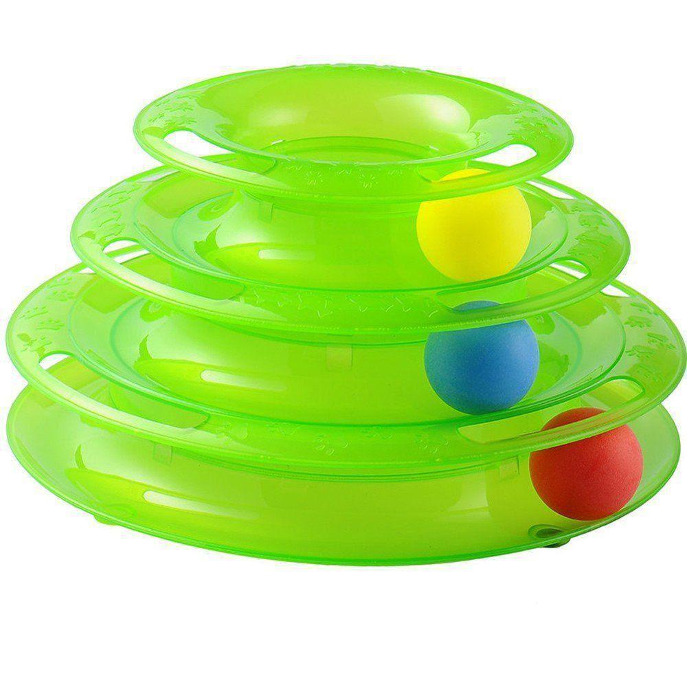 Brinquedo para Gatos Torre de Trilhas 3 níveis CBR03310 VERDE