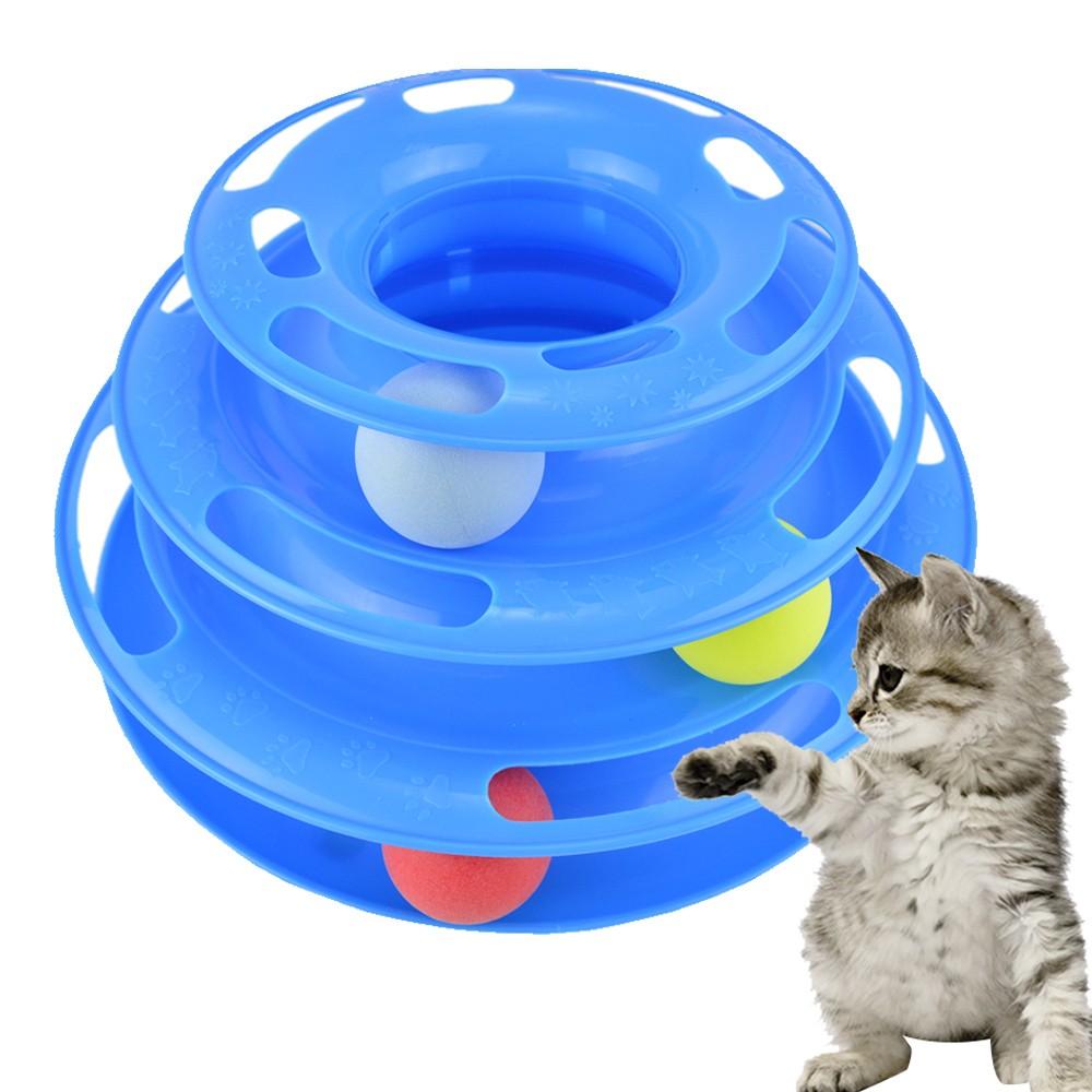 Brinquedo Torre Trilha Para Gatos 3 Níveis Azul CBRN14484