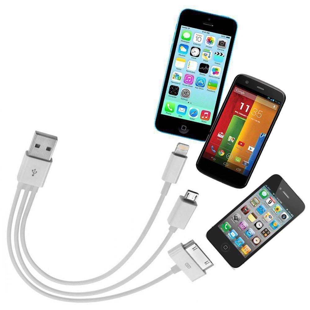 Cabo iPad iPhone 4,5,6 e Micro USB 3 Pontas Carregador CBRN0135
