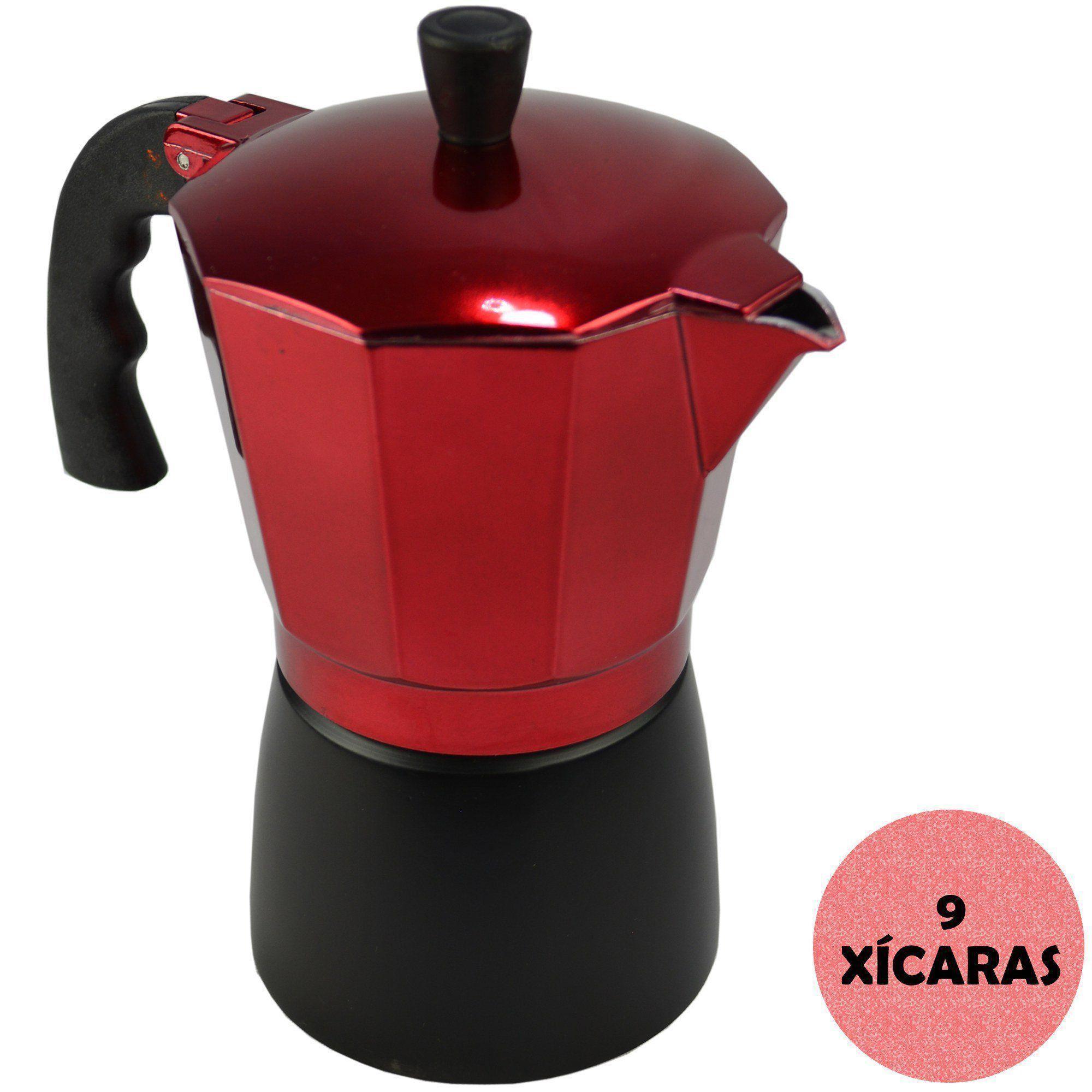 Cafeteira Italiana de Alumínio 9 Xícaras Vermelho CBRN08995