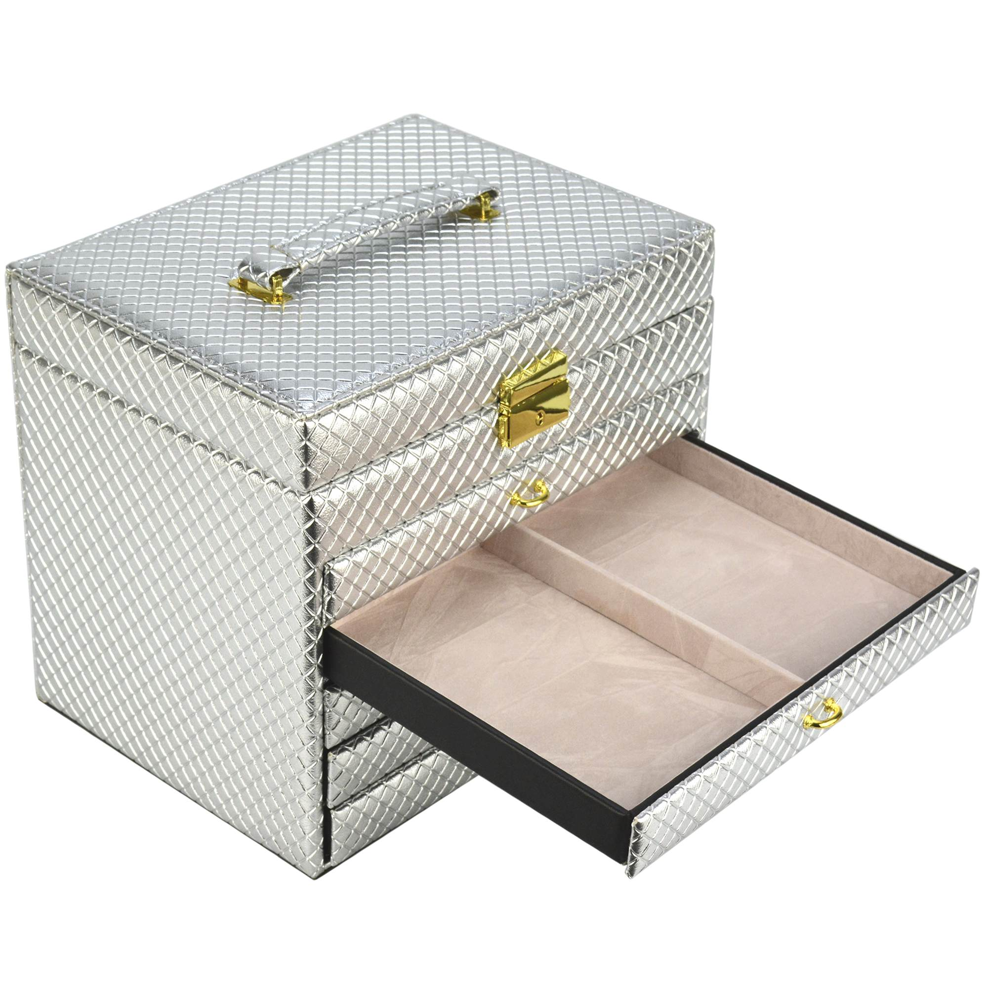 Caixa Para Joias Bijuteria 5 Gavetas Luxo Prata CBRN13067