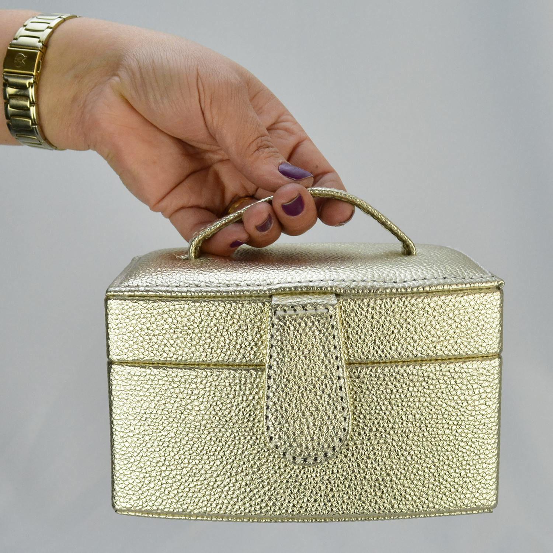 Caixa Para Joias Bijuteria Dourado CBRN10783