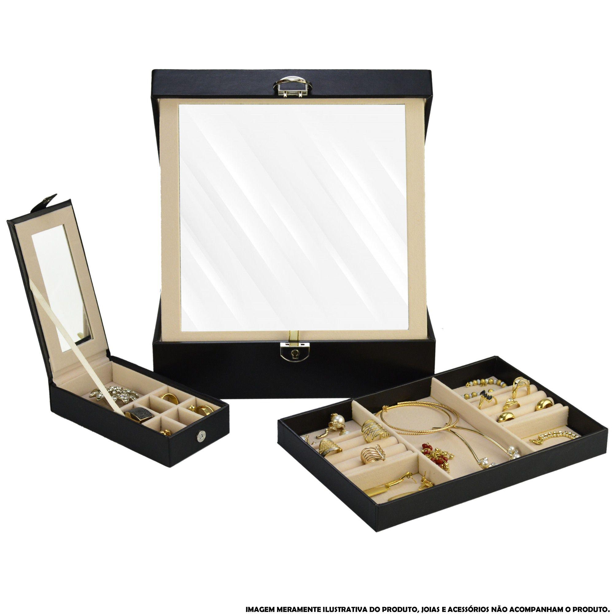 Caixa Para Joias Bijuteria Espelho Luxo Preto CBRN13050
