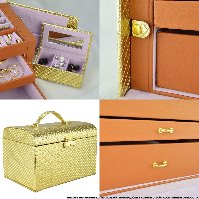 Caixa Para Joias Bijuteria Luxo Dourado CBRN10738