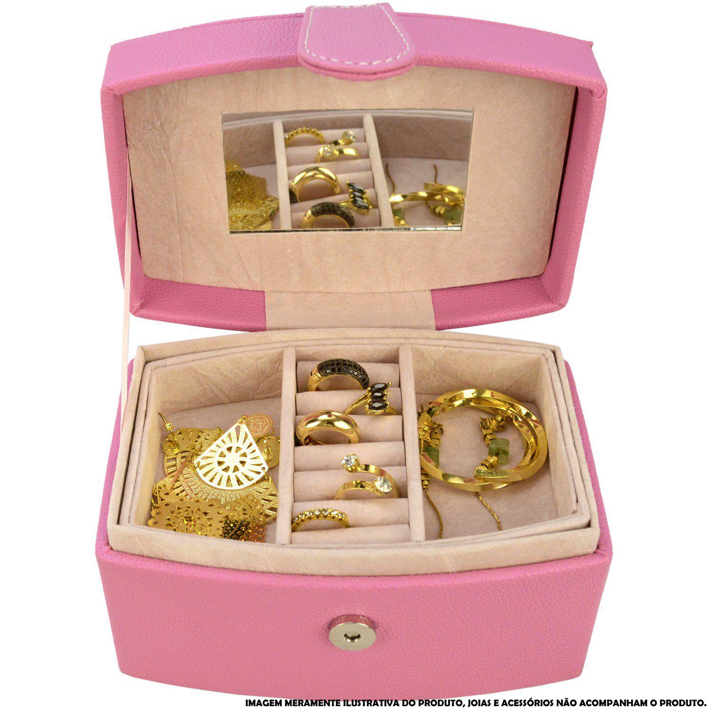 Caixa Para Joias Bijuteria Rosa CBRN10806