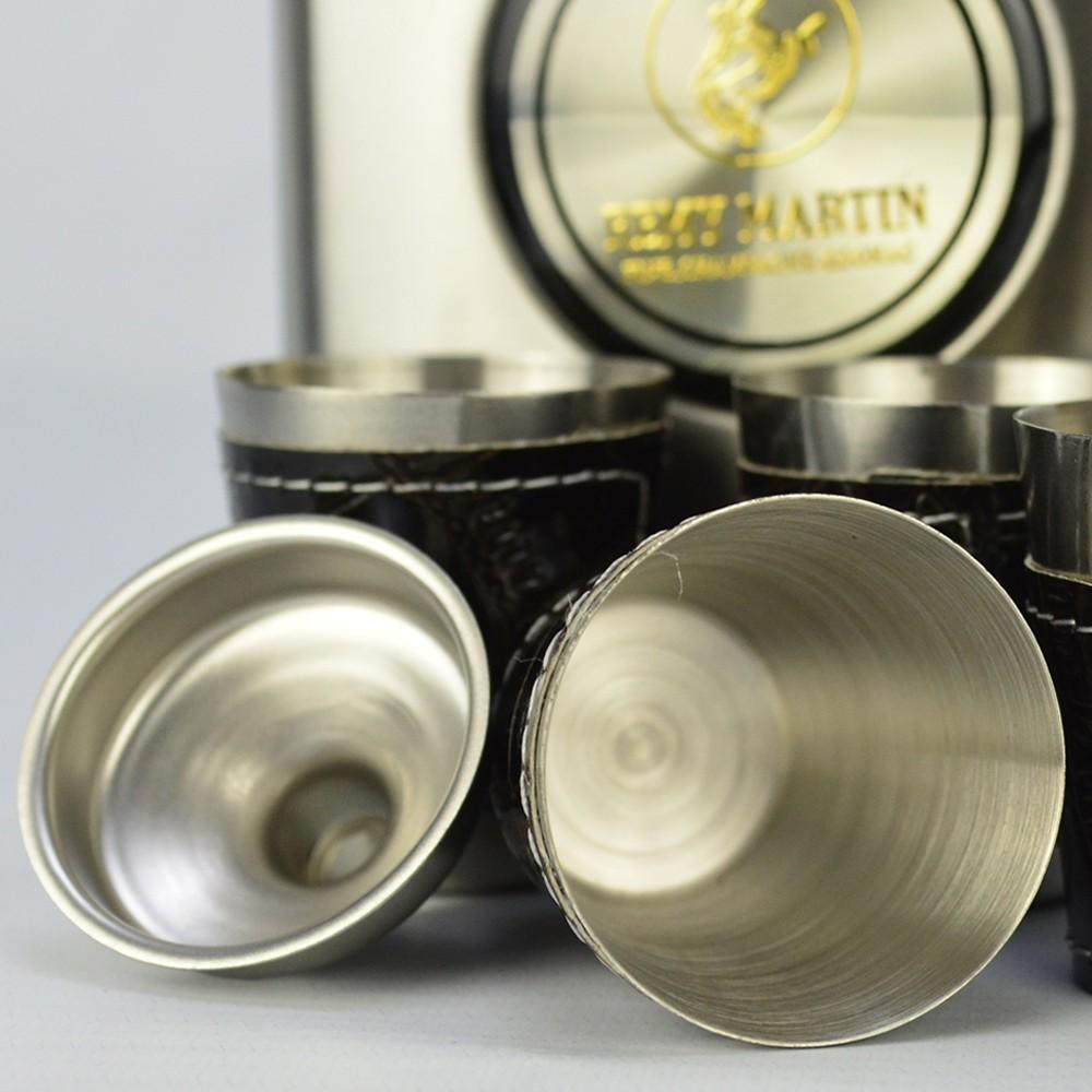 Cantil De Bolso Porta Bebida Whisky Copos Prata CBRN113746