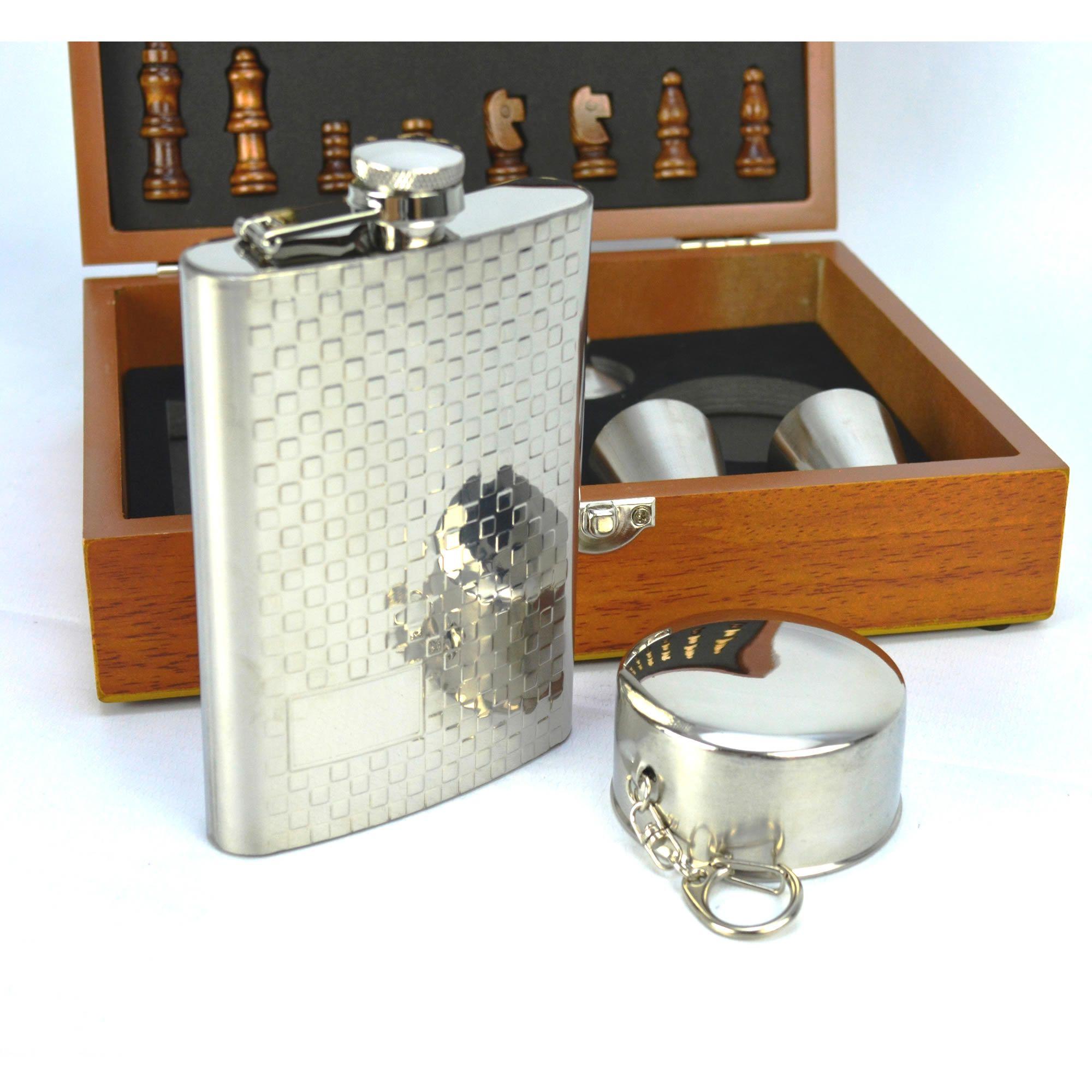 Cantil De Bolso Porta Bebida Whisky Xadrez Copo CBRN12374