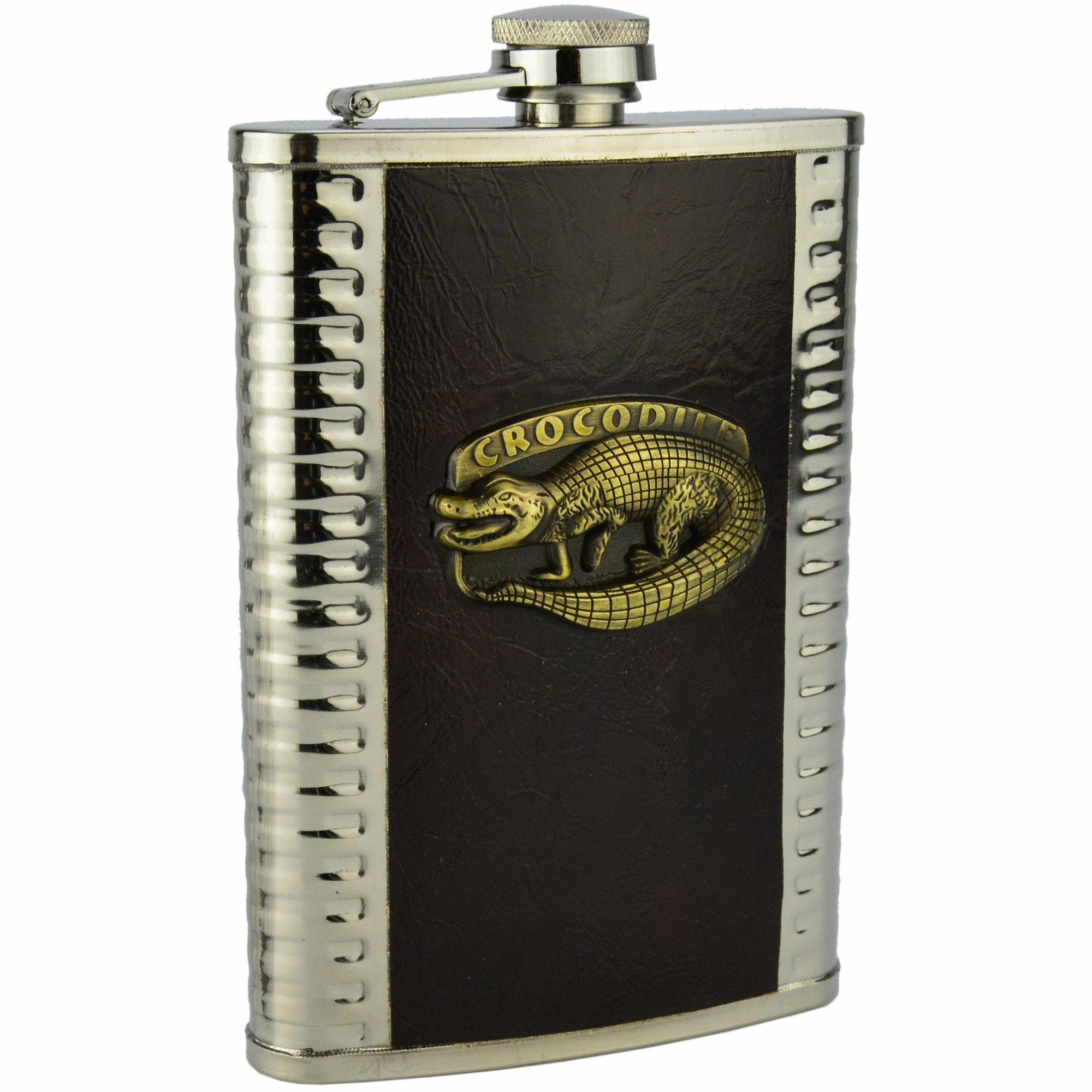 Cantil Porta Bebida Aço Inox 266 ML Crocodilo CBRN11650