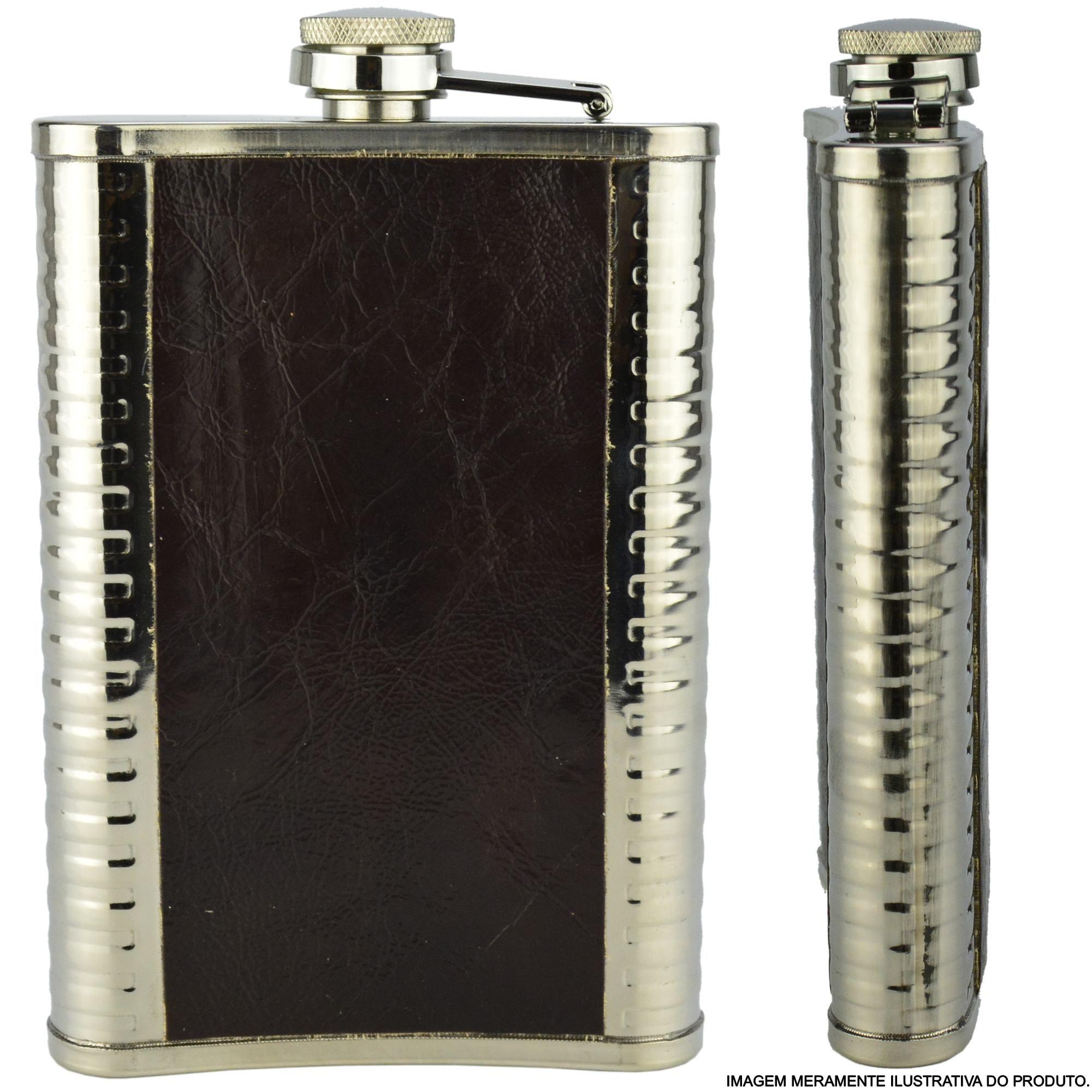 Cantil Porta Bebida Aço Inox 266 ML Escorpião CBRN11674