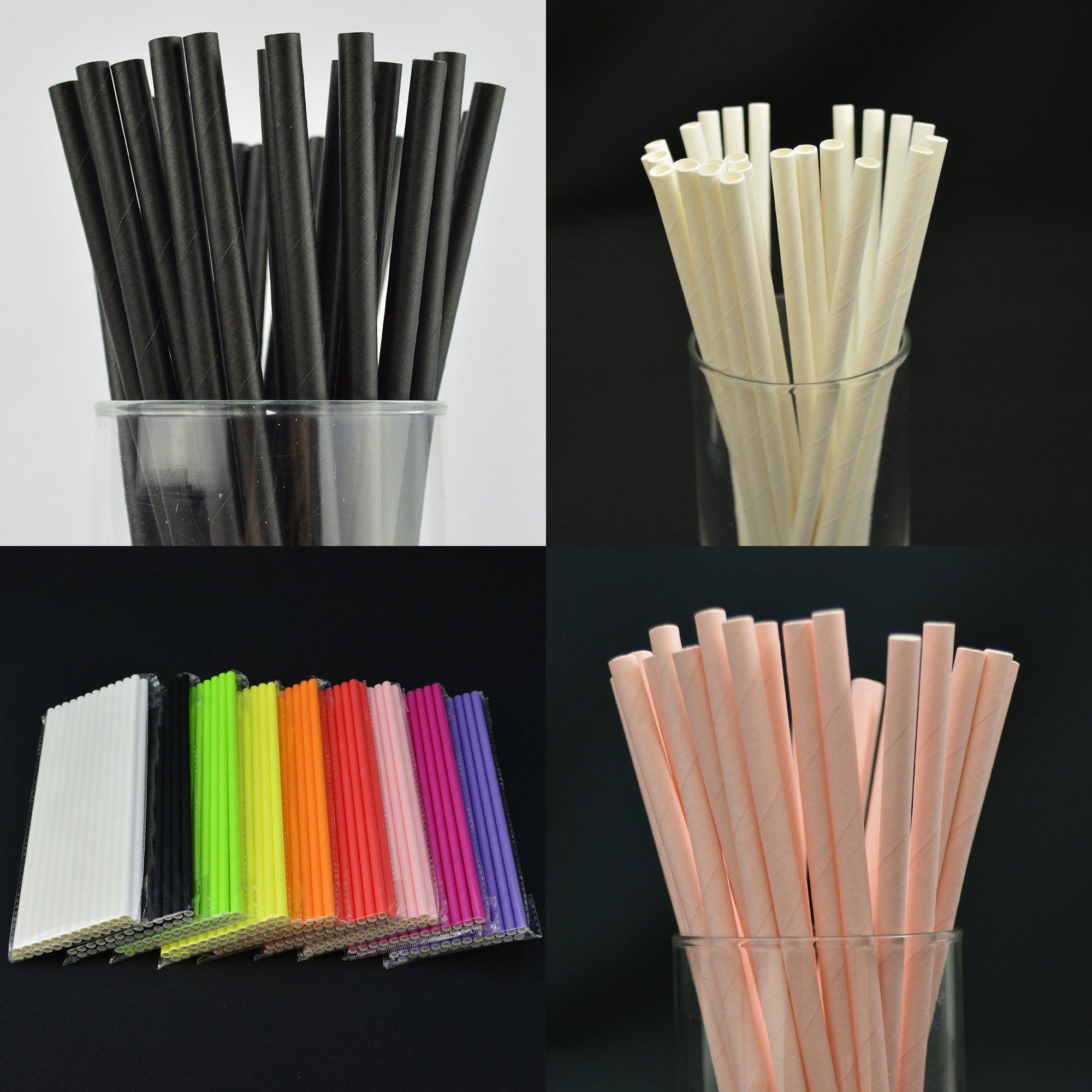 Canudos de Papel Biodegradável Coloridos 100 Unidades CBRN10820