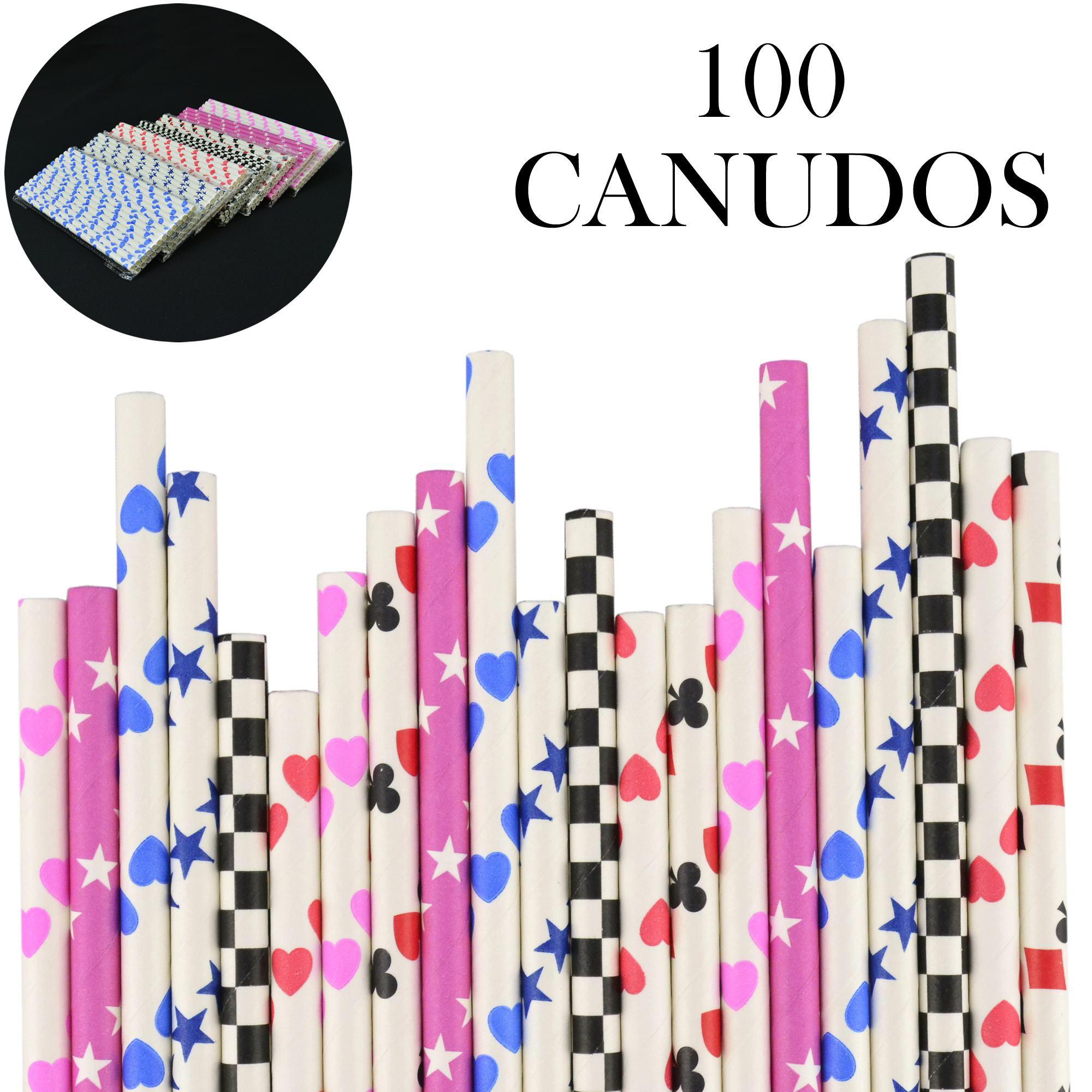 Canudos de Papel Biodegradável Festa 100 Unidades CBRN10905