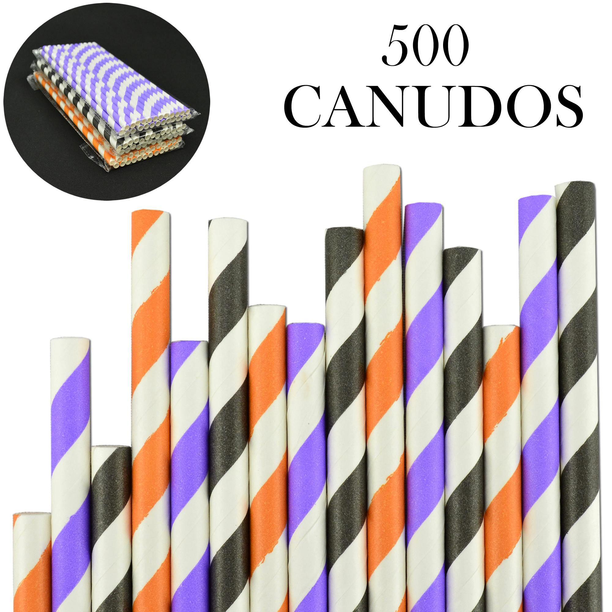 Canudos de Papel Biodegradável Listrados 500 Unidades CBRN10882
