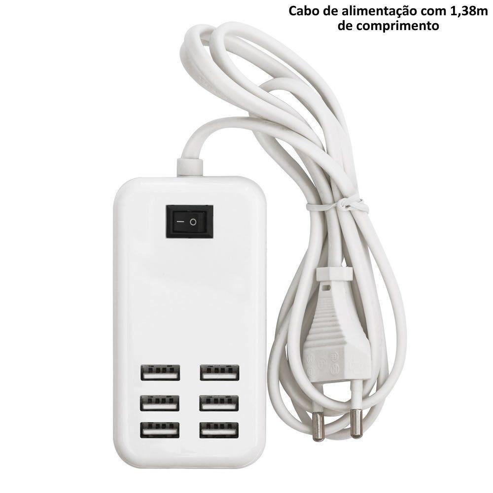 Carregador Usb 6 Portas Extensão tomada 30W Interruptor CBRN01637