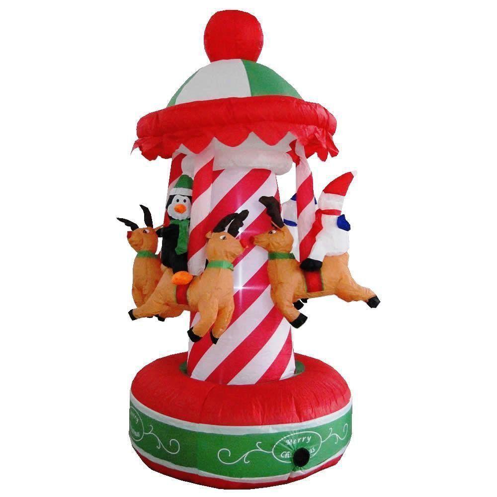 Carrossel Inflável Decoração de Natal 1,50m de Altura Iluminado 110v CBRN0593 CD1562