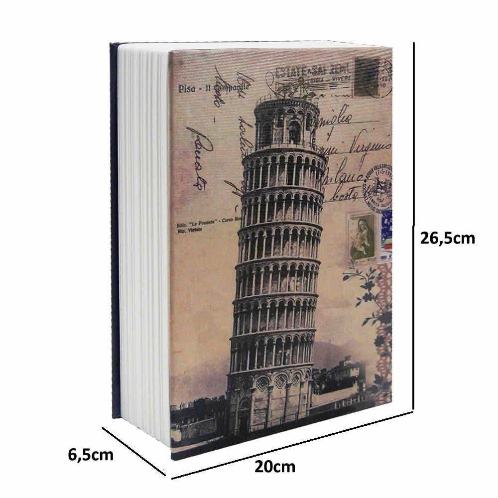 Cofre Livro Aço 2mm Book Safe com 2 chaves 26,5cm PISA CBRN02375