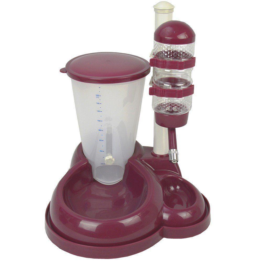 Comedouro bebedouro automático para cães e gatos CBR04331 vinho
