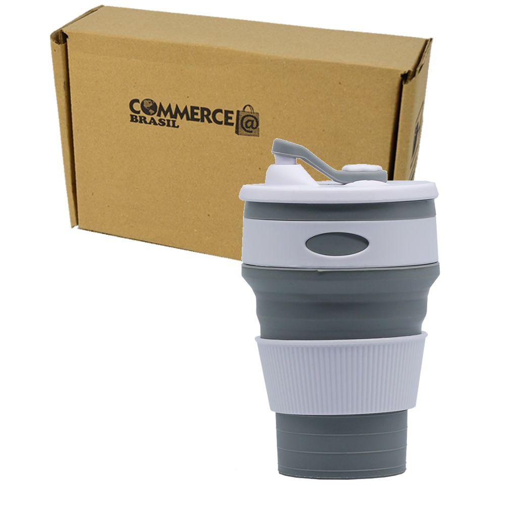 Copo de Silicone Retrátil Reutilizável c/ Tampa Cinza CBRN12510