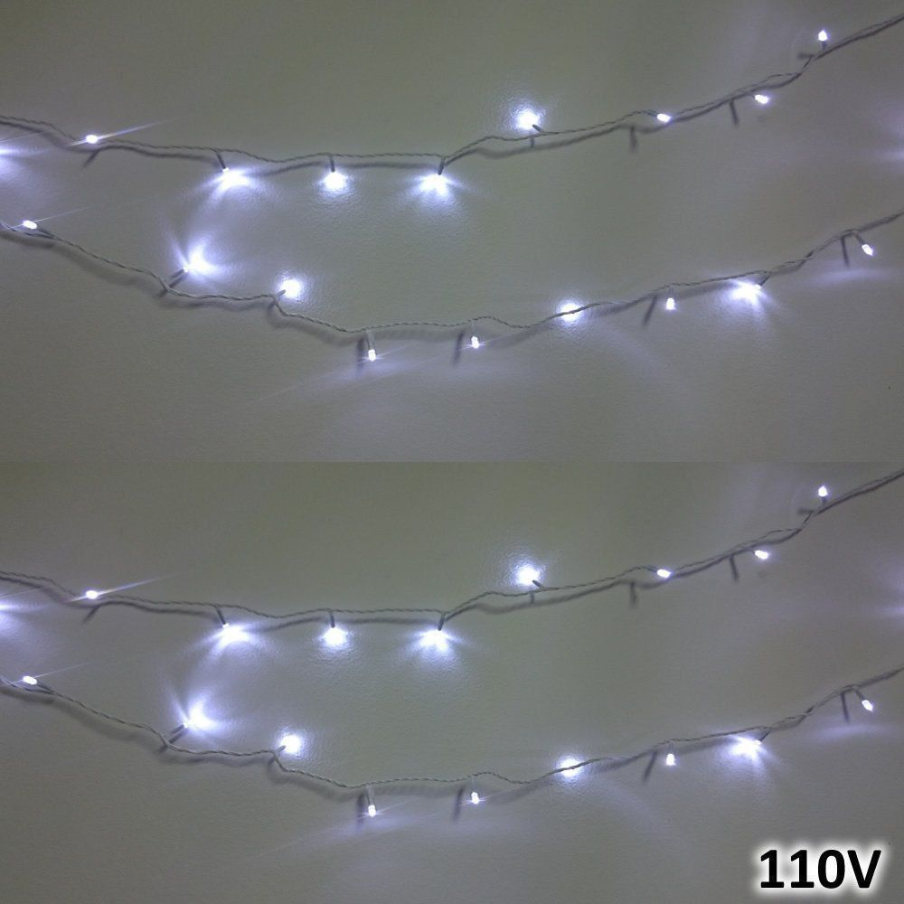 Cordão 100 LEDs 10m Branco 110VOLTS Fio Branco Fixo CBRN0685
