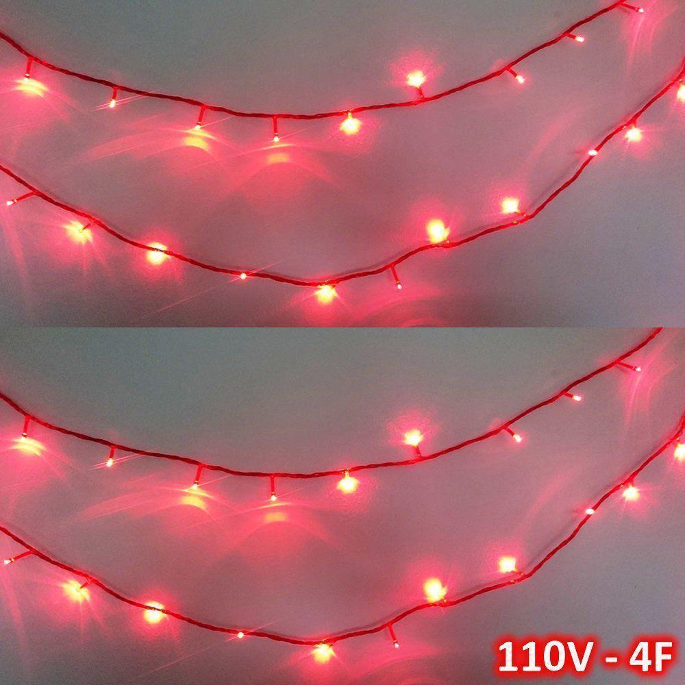 Cordão 100 LEDs 10m Vermelho 110VOLTS Fio Vermelho 4F CBRN0692