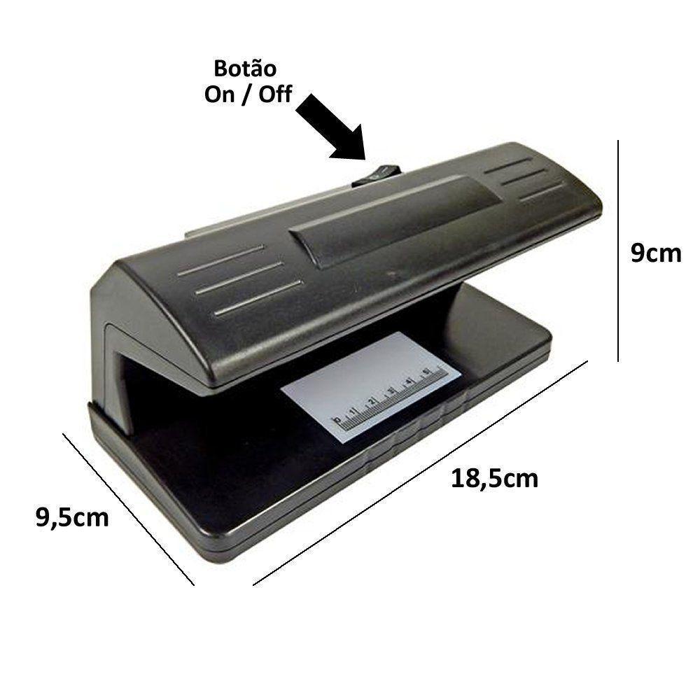 Detector dinheiro nota falsa à pilhas cheque rg selos passaporte CBRN01484