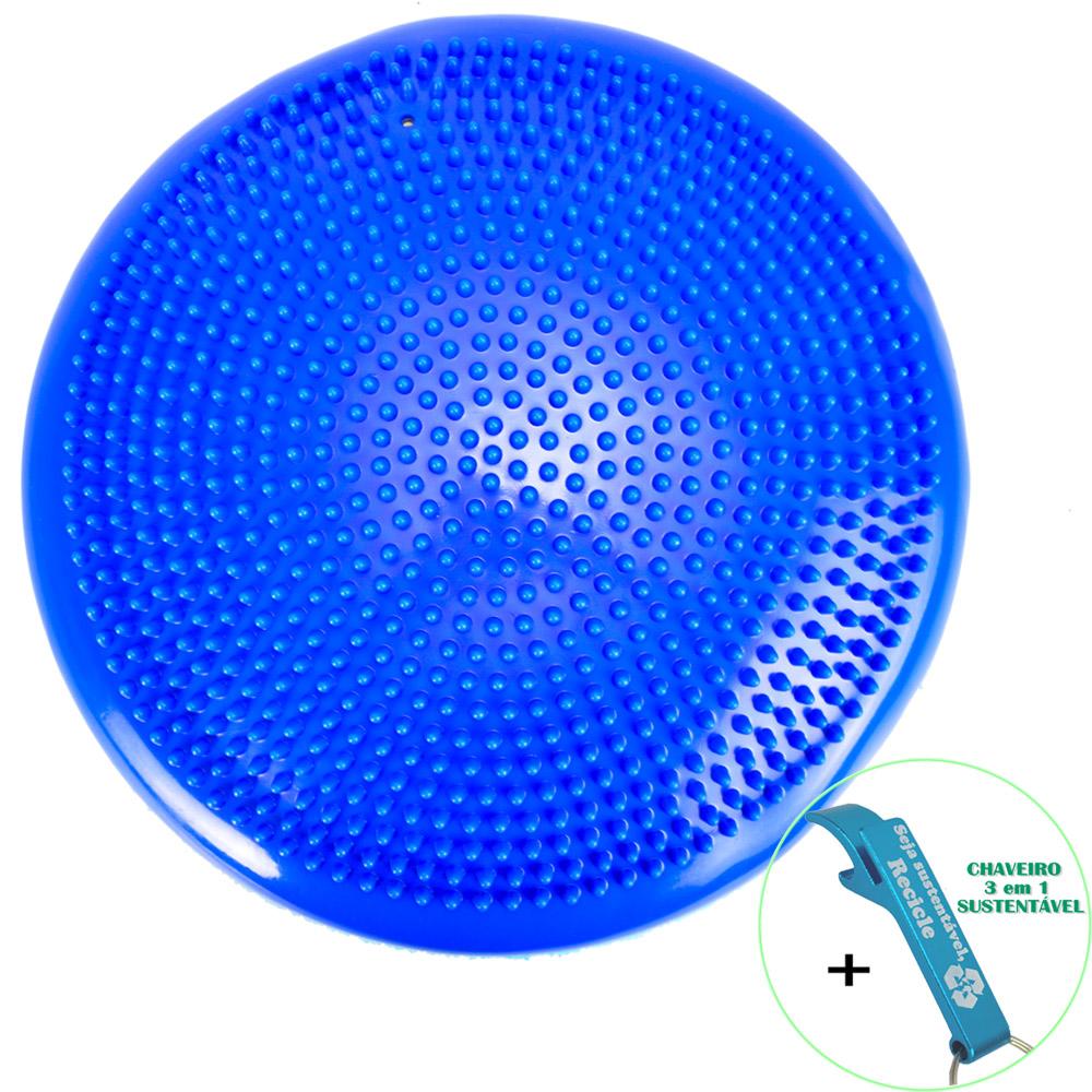 Disco de Equilíbrio Para Exercícios Inflável 33 cm Azul Escuro + Chaveiro CBRN15986