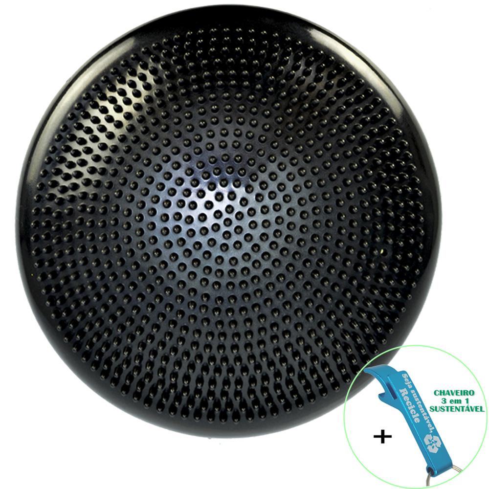 Disco de Equilíbrio Para Exercícios Inflável 33 cm Preto + Chaveiro CBRN16006