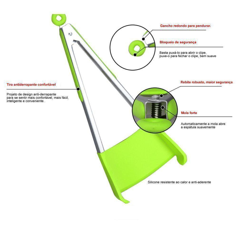 Espátula de Silicone 2 em 1 Para Cozinha Verde CBRN07202