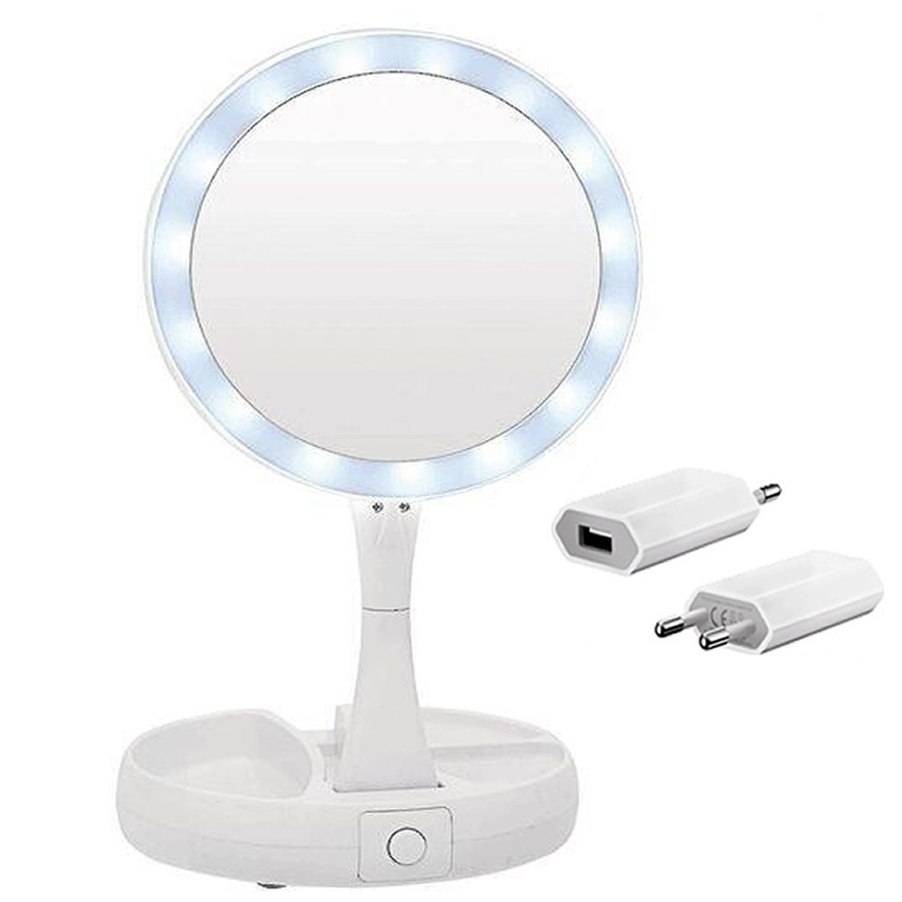 Espelho Redondo Dobrável Mesa LED Maquiagem CBRN14132