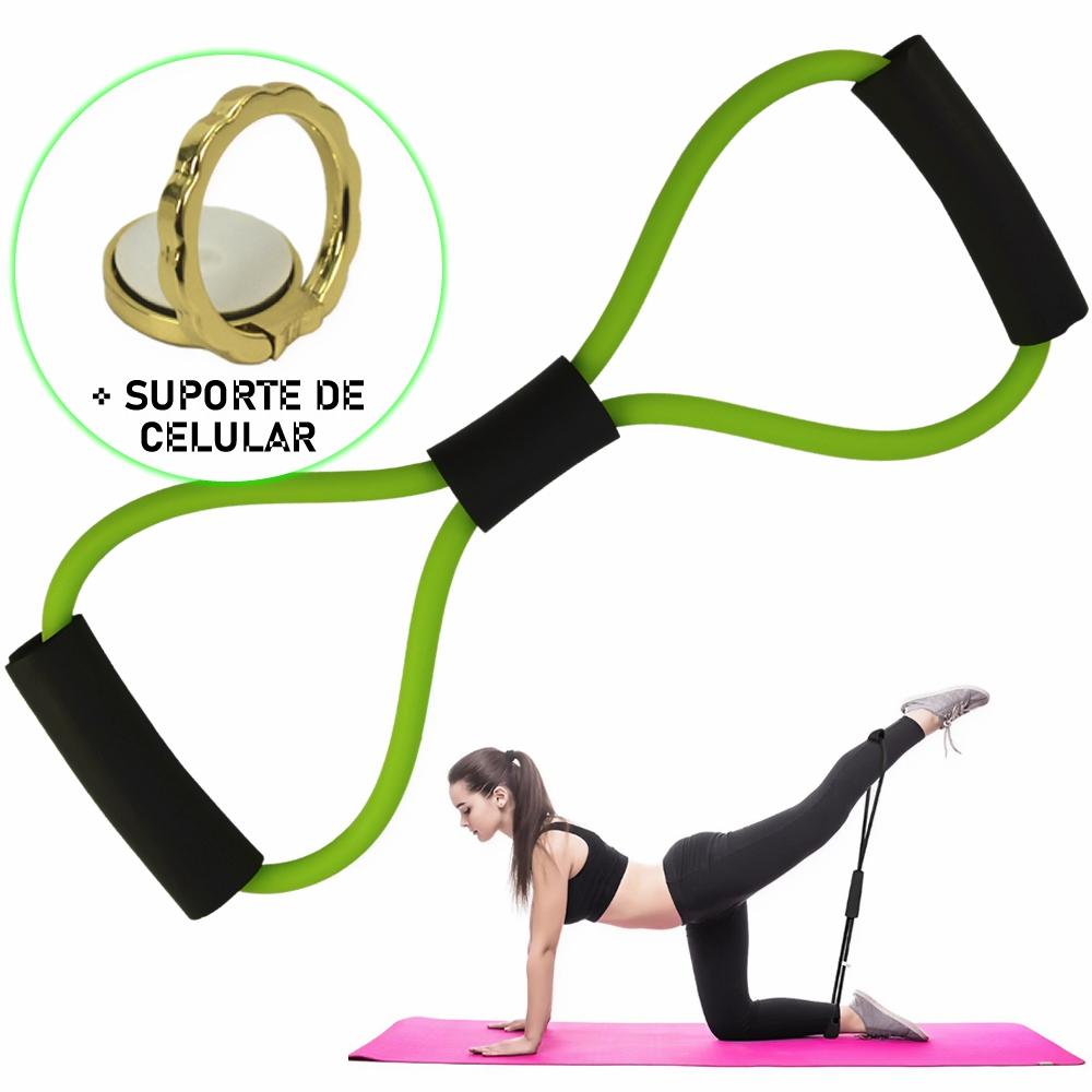Extensor Elástico Para Exercícios Ginástica Verde + Suporte Celular CBRN15863