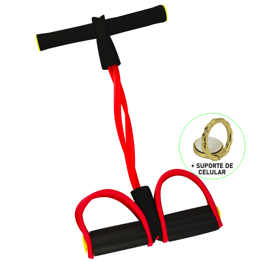 Extensor Elástico para Exercícios Pedal Vermelho + Suporte Celular CBRN14682