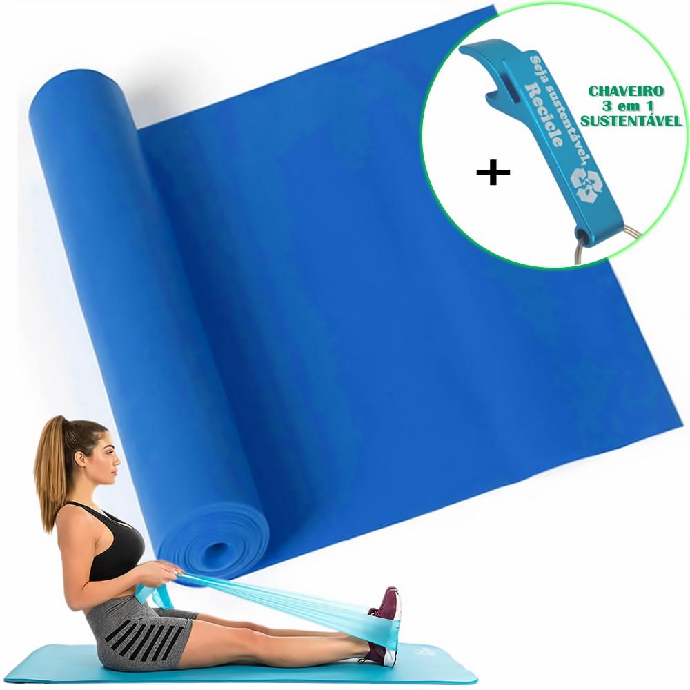 Faixa Elástica Para Exercício Resistência Yoga Azul + Chaveiro CBRN15931