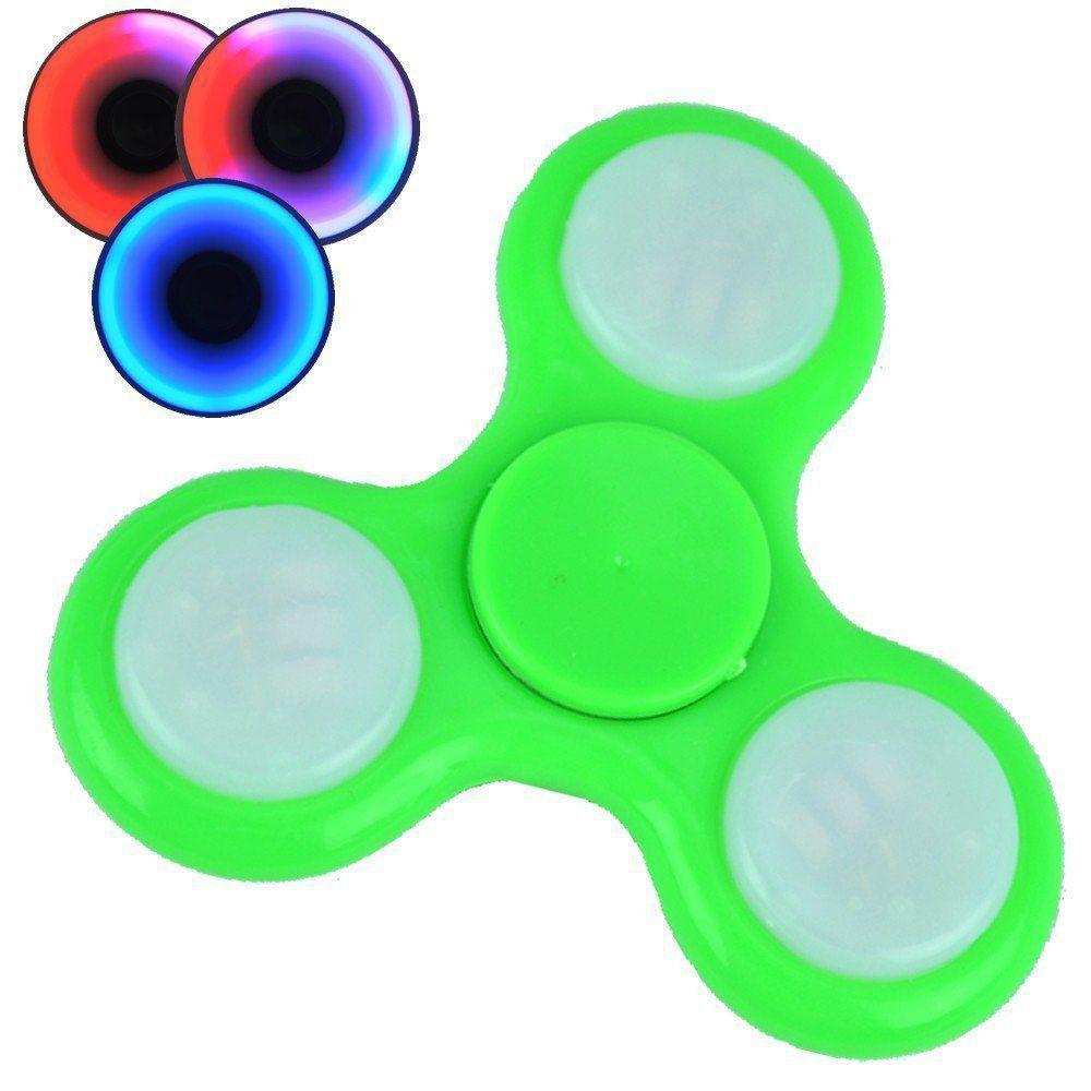 Fidget Hand Spinner Anti Stress com LED botão ON/OFF VERDE CBRN03839