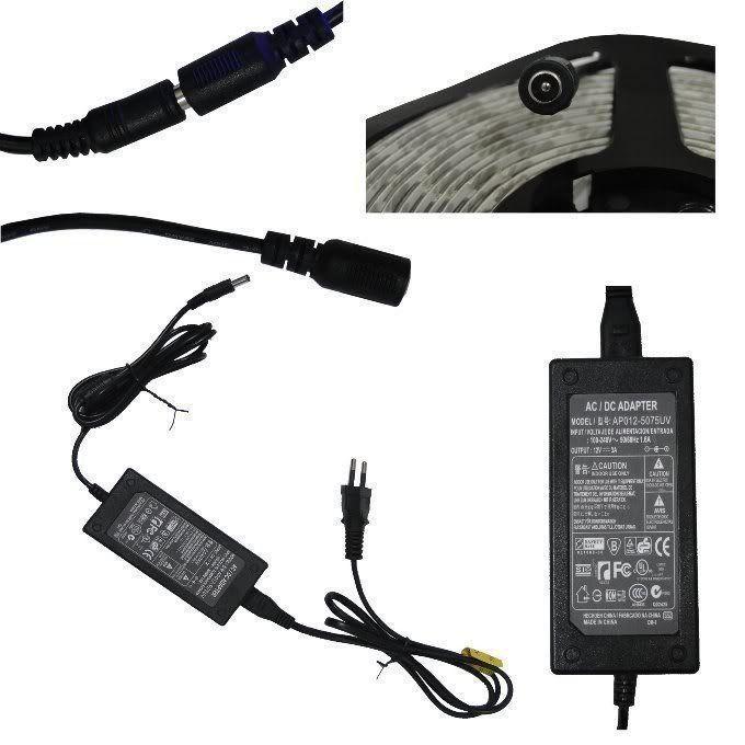 Fita Led 3528 IP65 60 Leds/m Bi-volt Rolo 5 mts Prova de Água Com Fonte