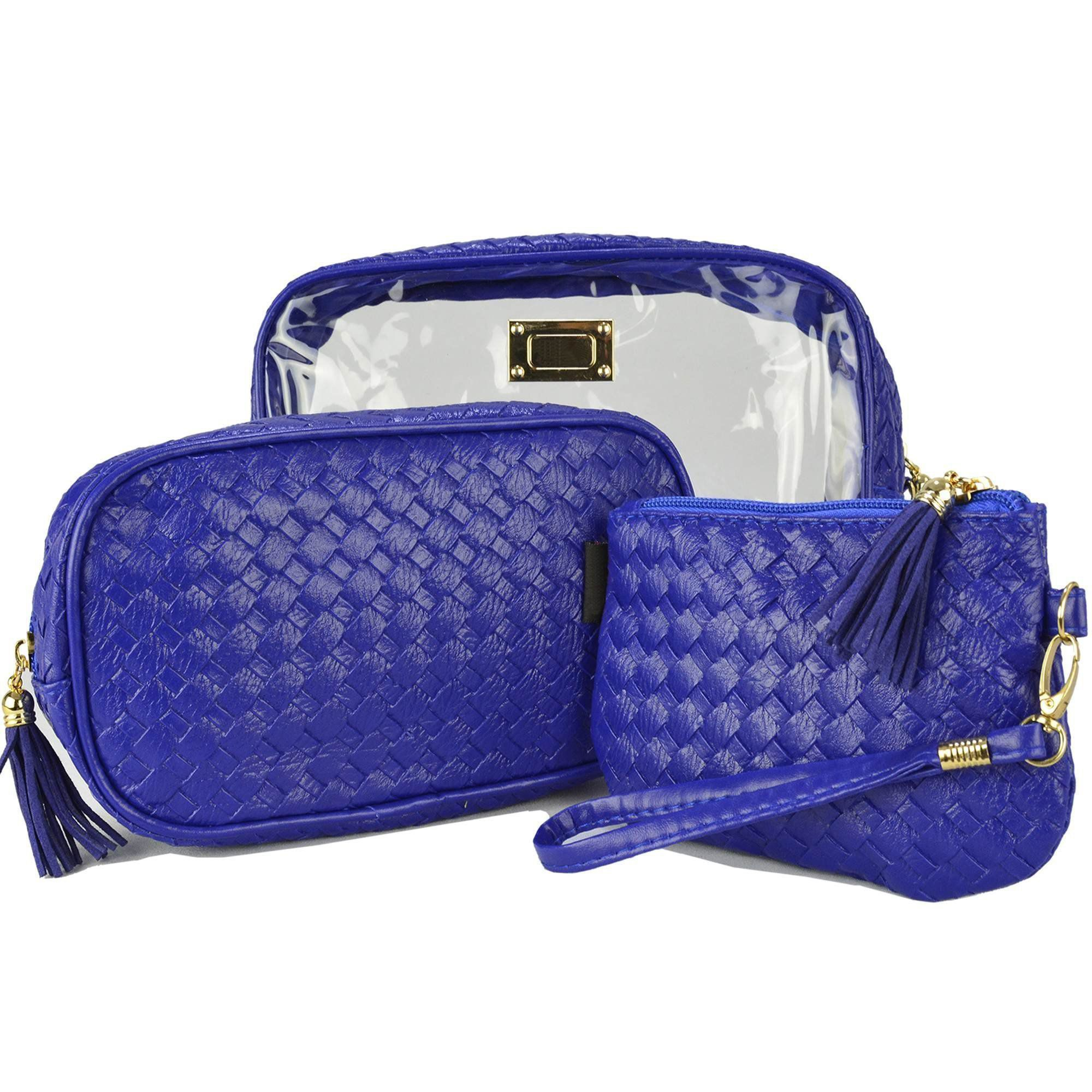 Frasqueiras Nécessaire Feminina Luxo Azul Kit 3 Peças CBRN08254