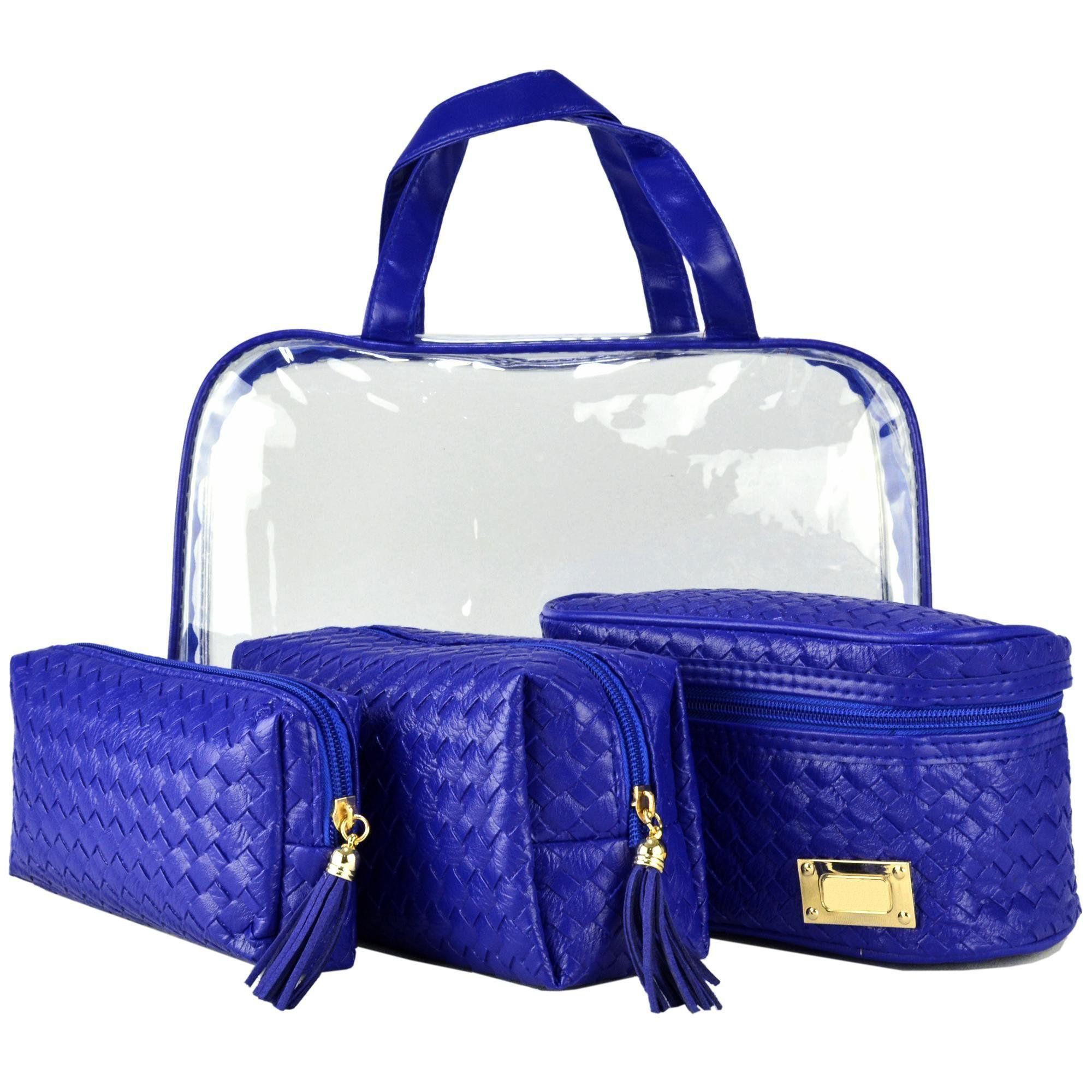 Frasqueiras Necessaire Feminina Luxo Azul Kit 4 Peças CBRN08186