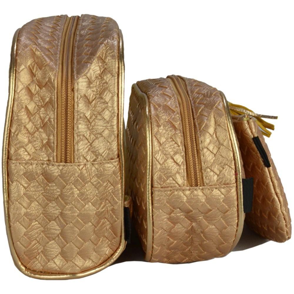 Frasqueiras Necessaire Feminina Luxo Dourado Kit 3 Peças CBRN14309