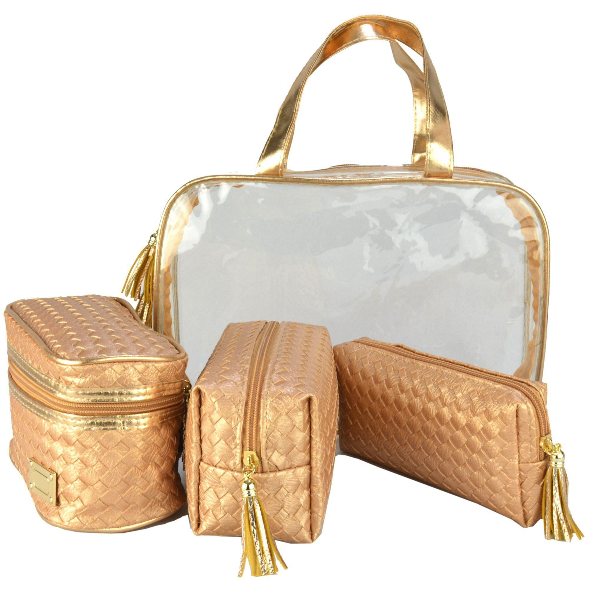 Frasqueiras Necessaire Feminina Luxo Dourado Kit 4 Peças CBRN08193