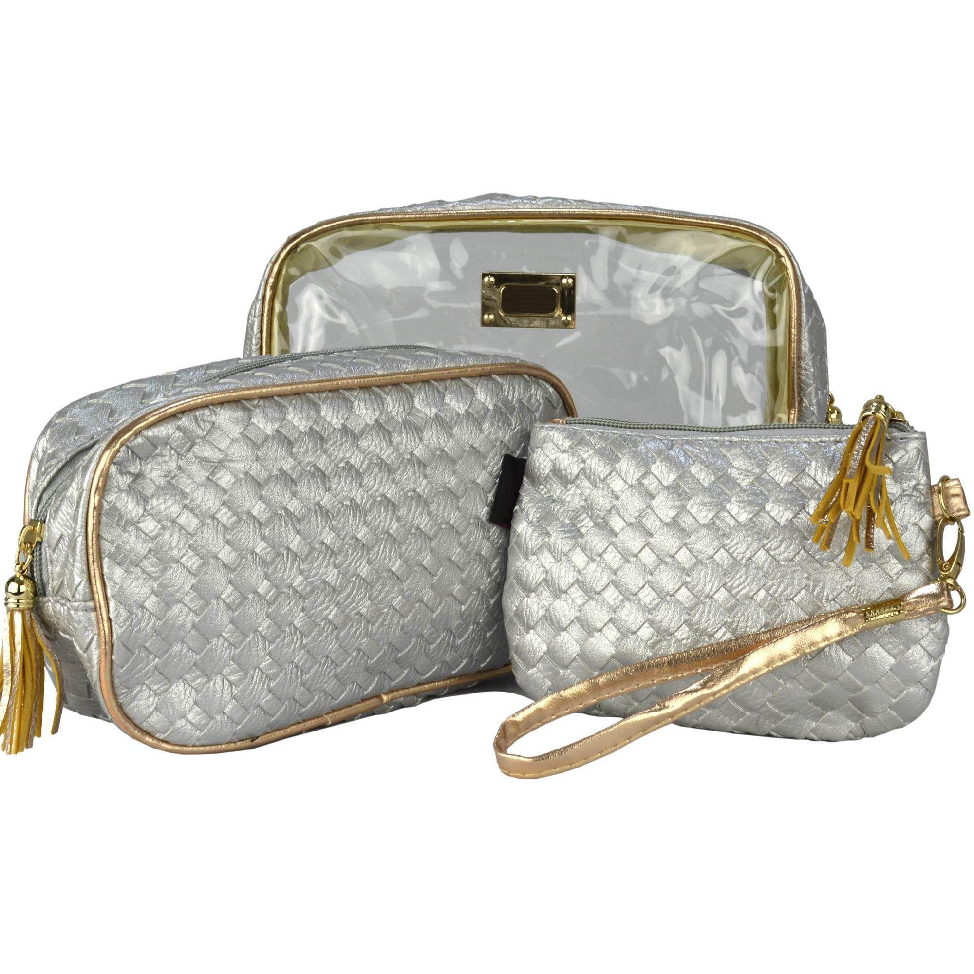 Frasqueiras Necessaire Feminina Luxo Prata Kit 3 Peças CBRN08292