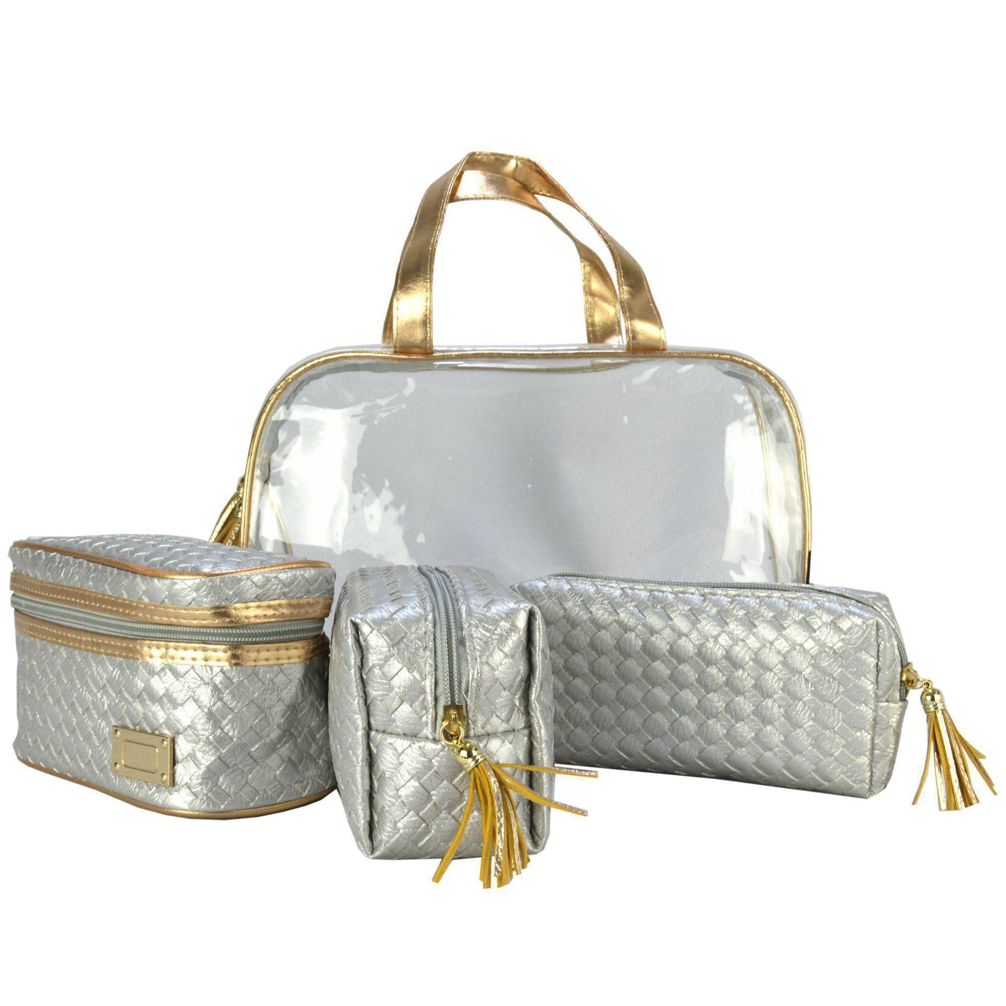 Frasqueiras Necessaire Feminina Luxo Prata Kit 4 Peças CBRN08223
