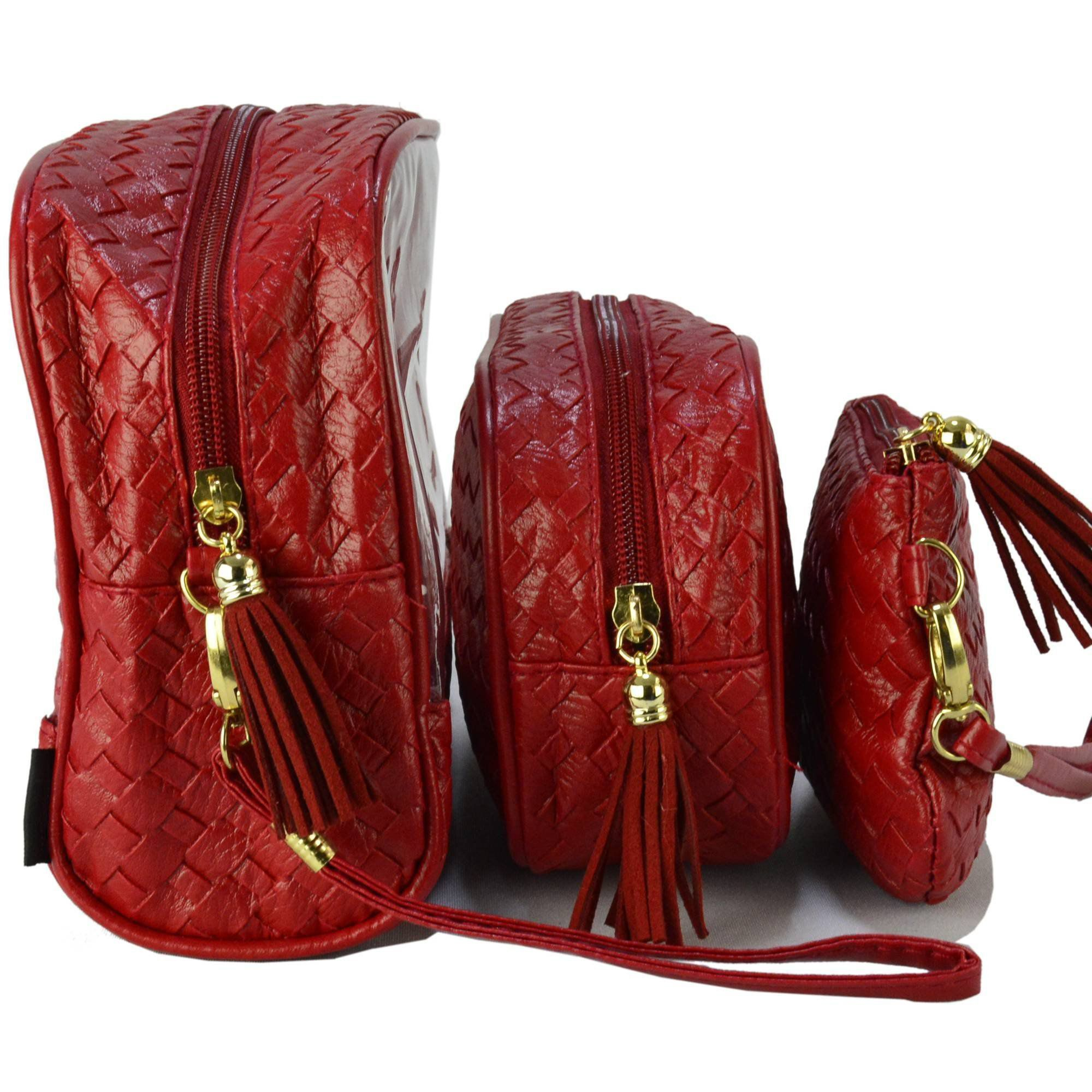 Frasqueiras Necessaire Feminina Luxo Vermelho Kit 3 Peças CBRN08315