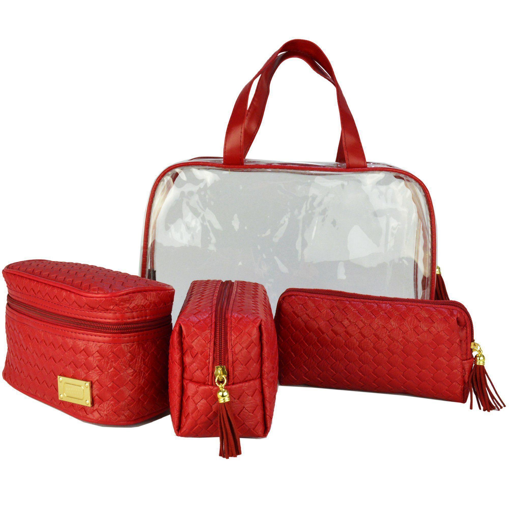 Frasqueiras Necessaire Feminina Luxo Vermelho Kit 4 Peças CBRN08247