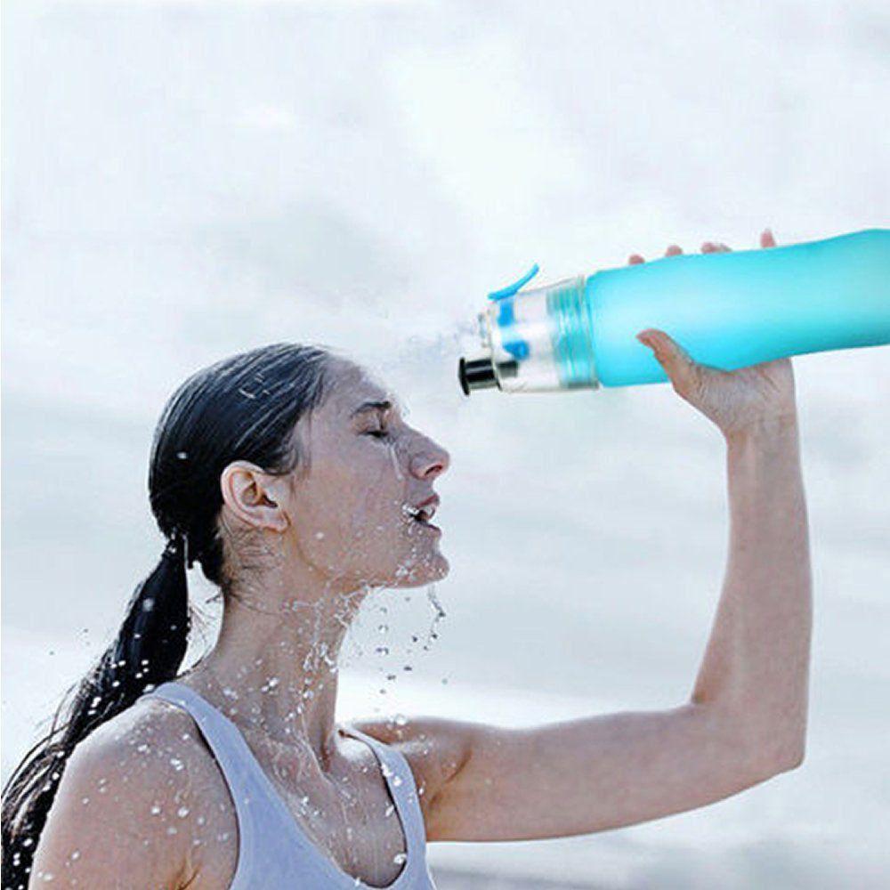 Garrafa de Água Com Borrifador Squeeze Hidratação Preto CBRN08407