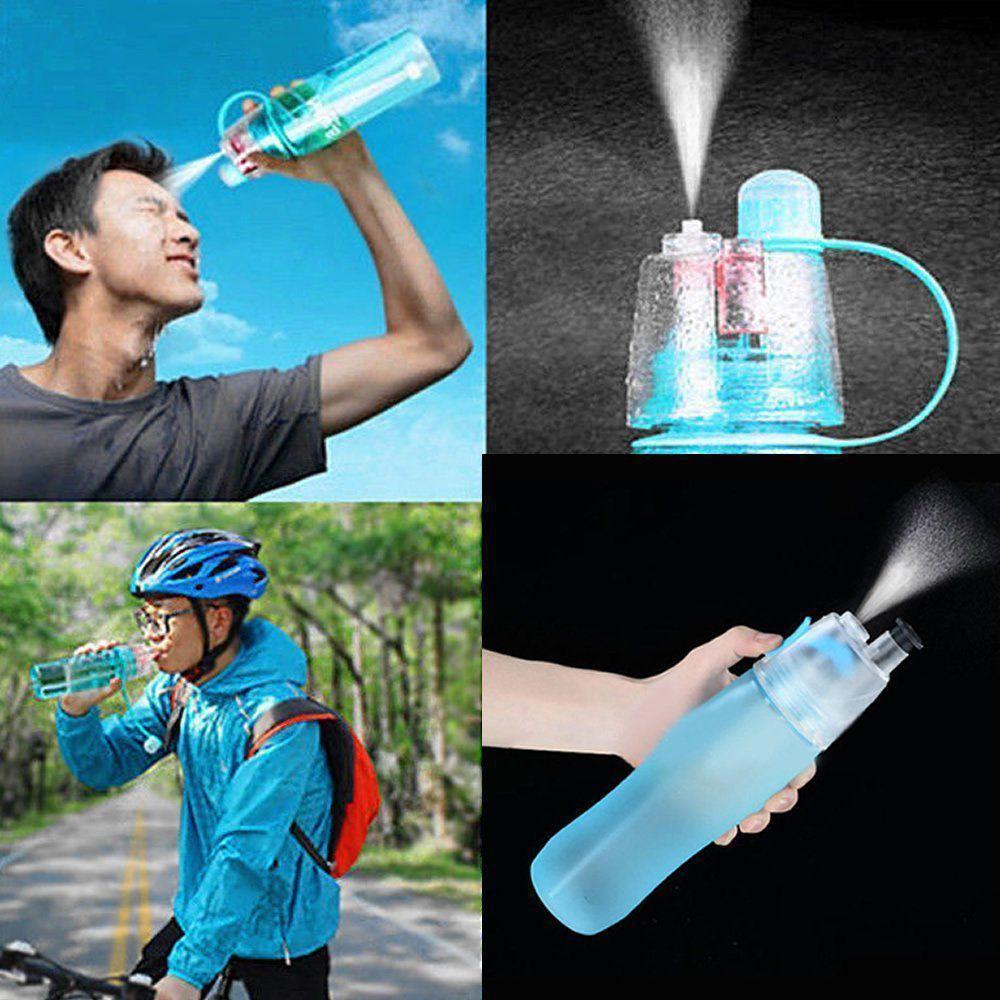 Garrafa de Água Com Borrifador Squeeze Hidratação Verde Água CBRN08421