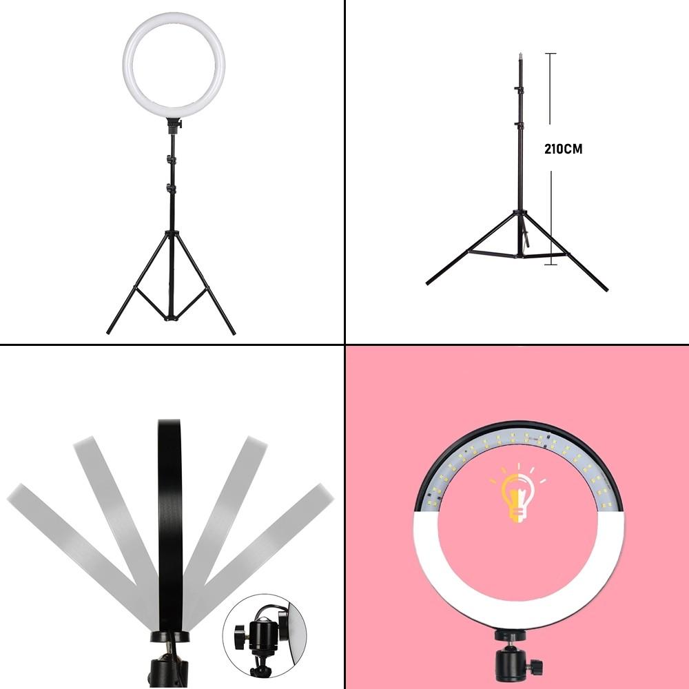Iluminador Ring Light 26 cm USB com tripé 2,10 metros + Suporte Celular CBRN14606