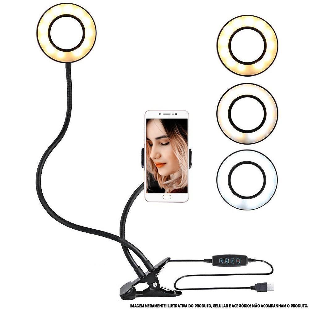 Iluminador Ring Light de Mesa Celular Presilha CBRN14262