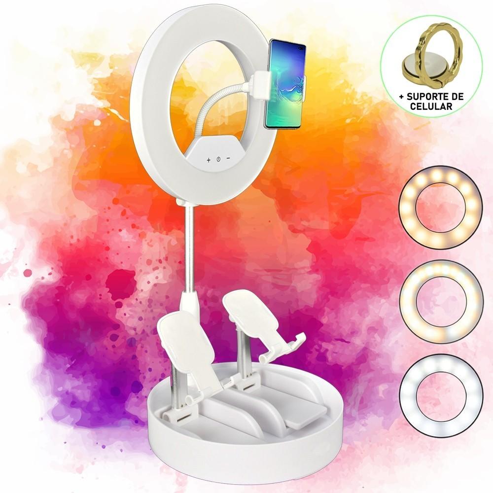 Iluminador Ring Light Dobrável 21cm 3 Suportes Branco CBRN14347