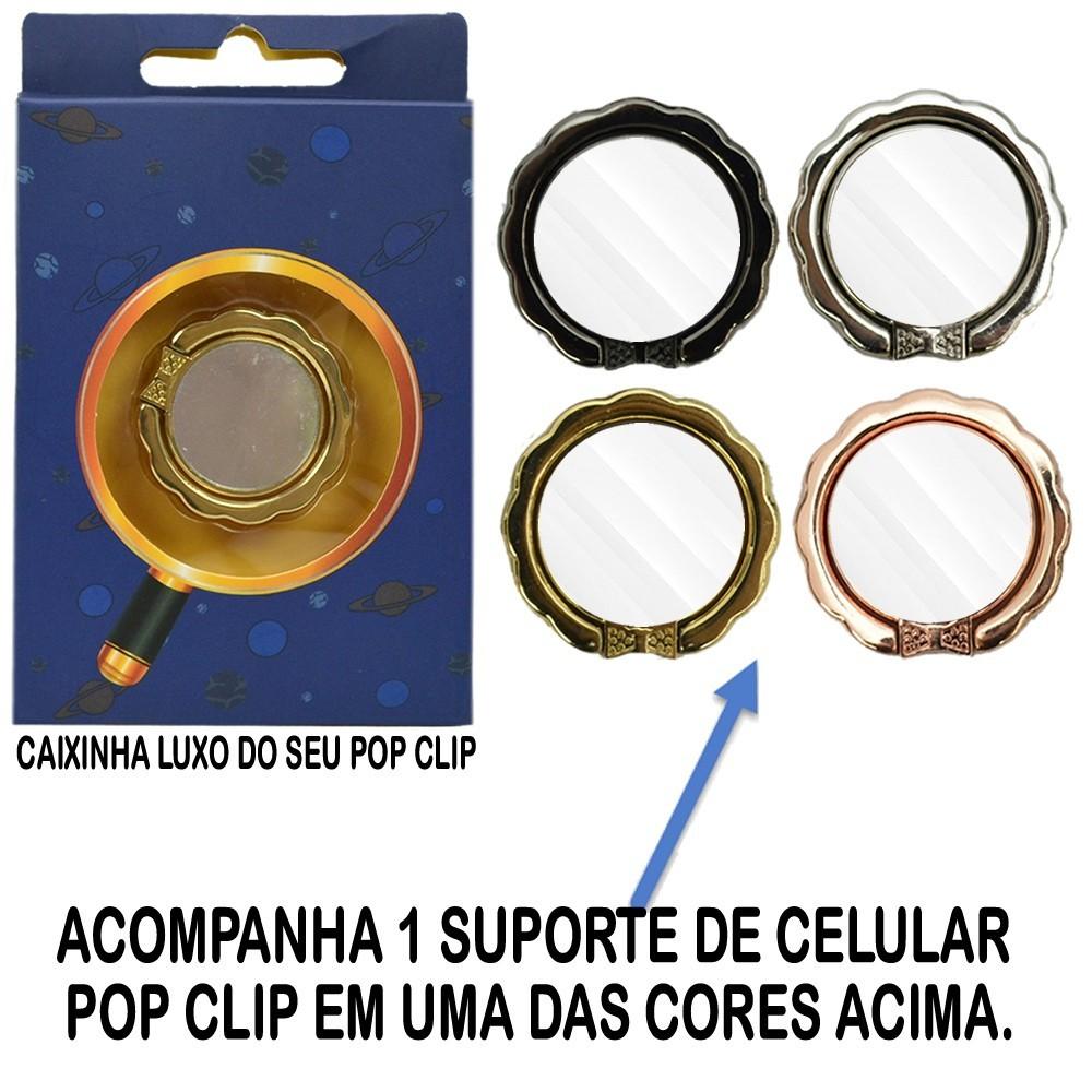 Iluminador Ring Light Dobrável 21cm 3 Suportes Rosa CBRN14361
