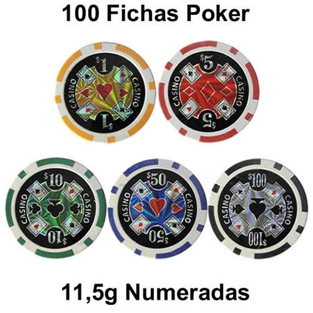 Jogo de Poker 100 Fichas numeradas holográficas 11,5g CBR05451
